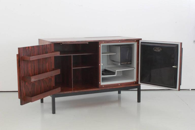 Mid-20th Century Danish Rosewood Bar Cabinet with Refrigerator by Silkeborg For Sale