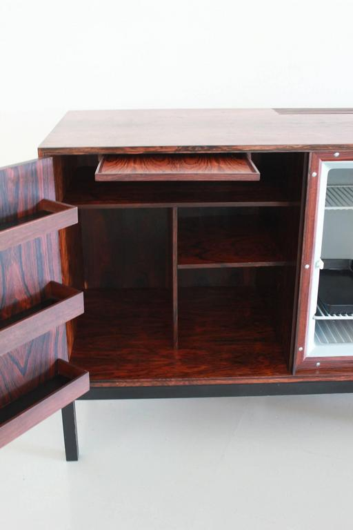Iron Danish Rosewood Bar Cabinet with Refrigerator by Silkeborg For Sale