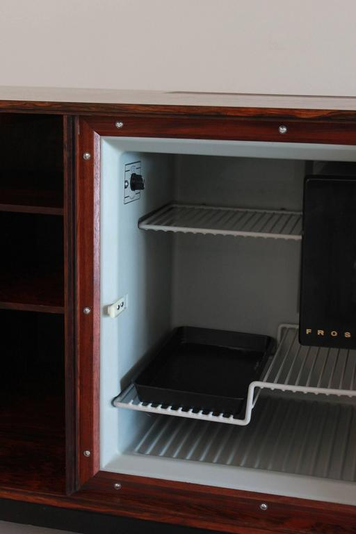 Danish Rosewood Bar Cabinet with Refrigerator by Silkeborg For Sale 2
