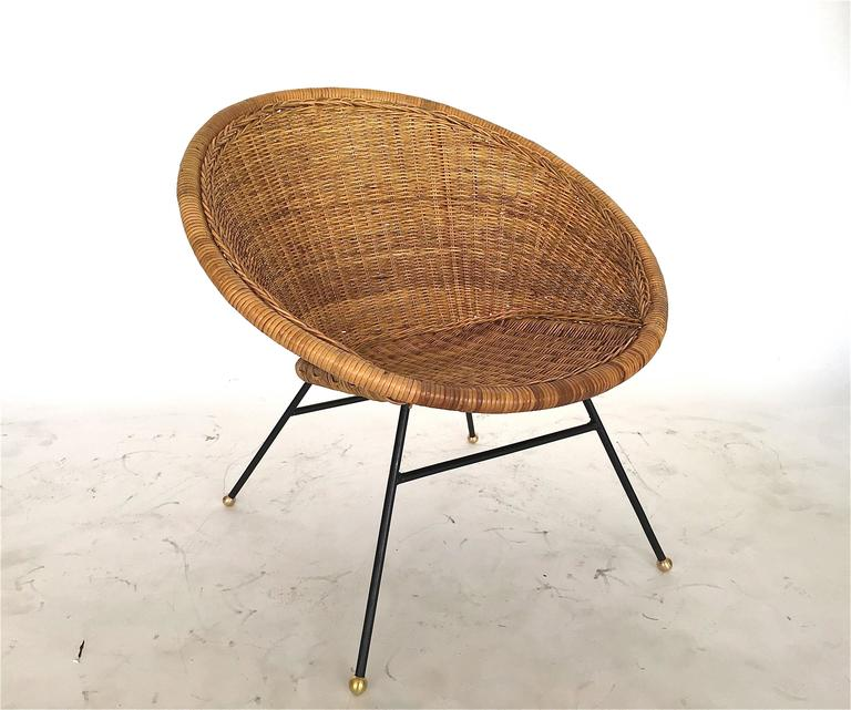 Wicker And Iron Bucket Chair At 1stdibs