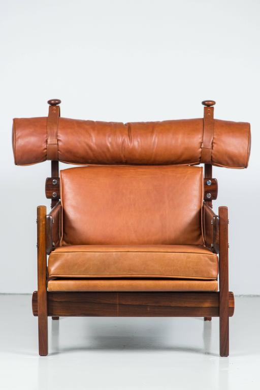 Stunning newly upholstered leather chair by Sergio Rodrigues from the