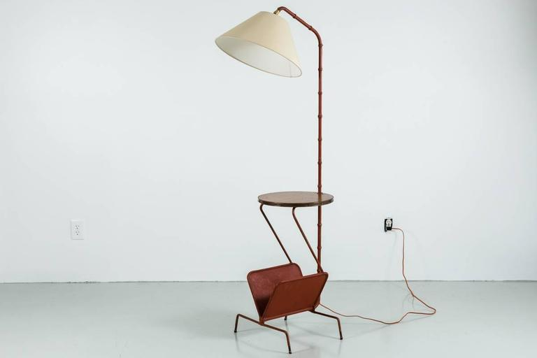 Jacques Adnet Floor Lamp with Table and Magazine Rack 2