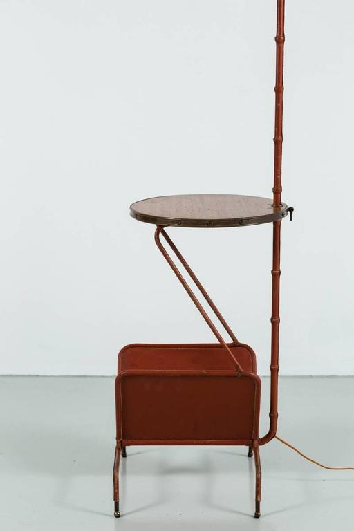 Jacques Adnet Floor Lamp with Table and Magazine Rack 5