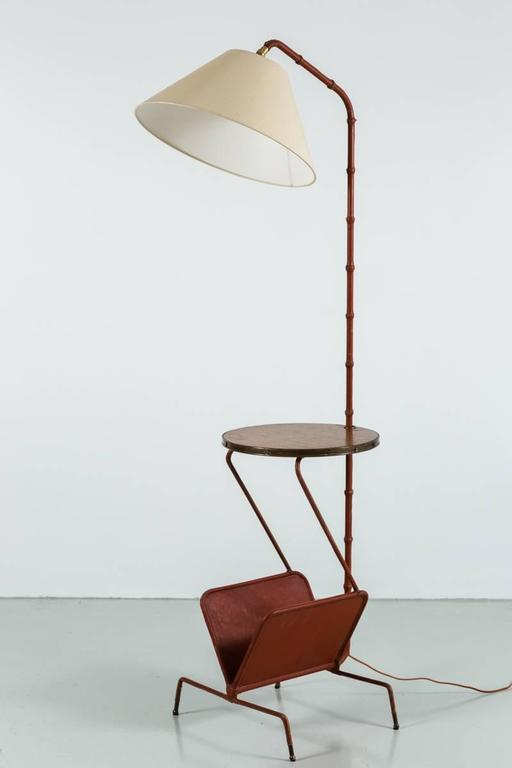 Jacques Adnet Floor Lamp with Table and Magazine Rack 8