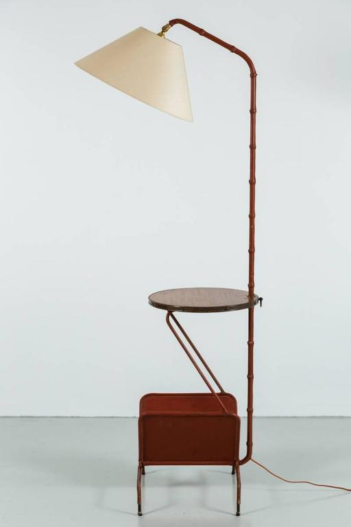 Jacques Adnet Floor Lamp with Table and Magazine Rack 9