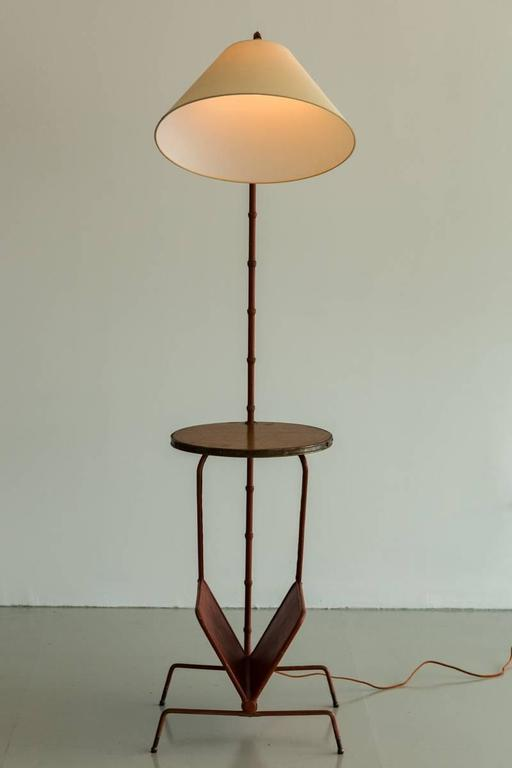 Jacques Adnet Floor Lamp with Table and Magazine Rack 10
