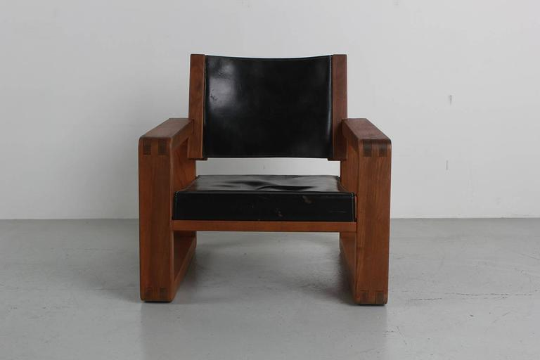 Mid-20th Century Armchair in the Style of Pierre Chapo For Sale