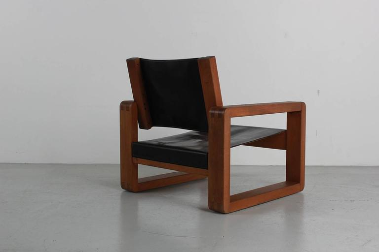 Leather Armchair in the Style of Pierre Chapo For Sale