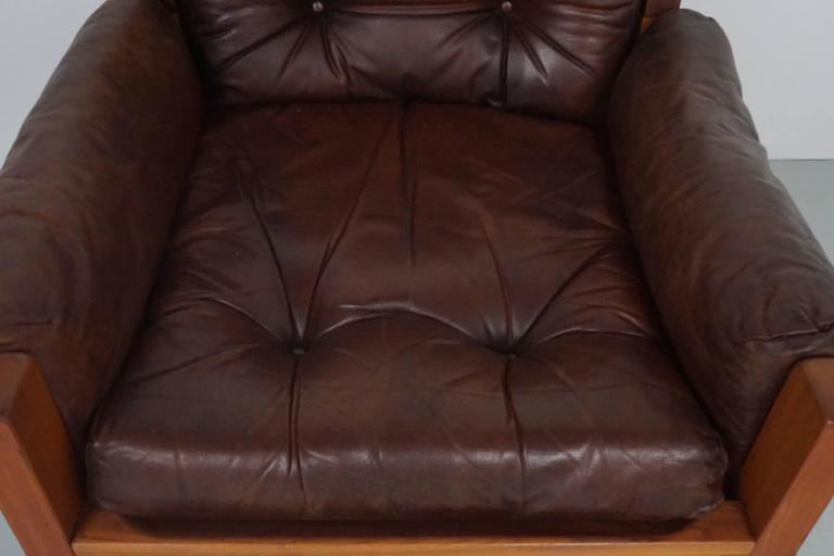 Pair of Leather Club Chairs by Pierre Chapo For Sale 2