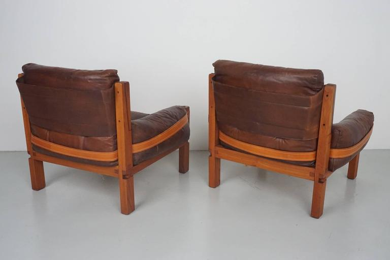 French Pair of Leather Club Chairs by Pierre Chapo For Sale