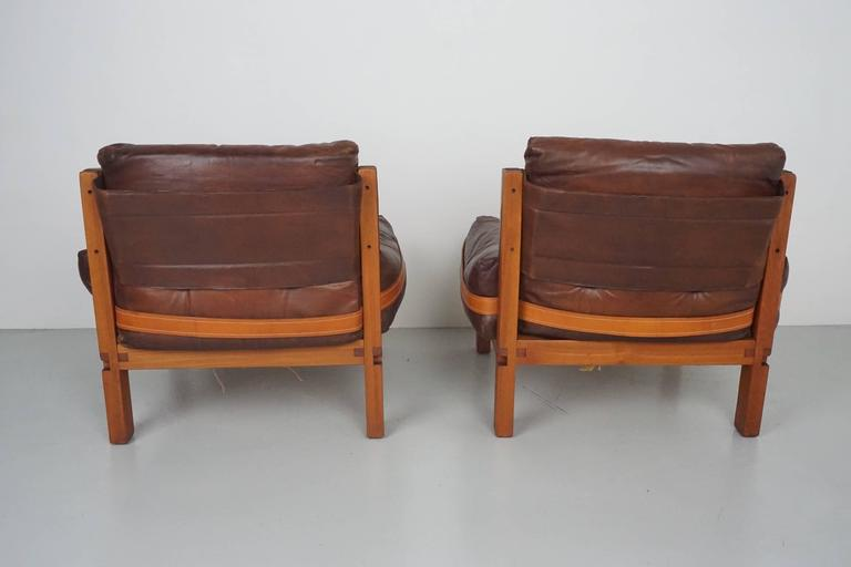 Pair of Leather Club Chairs by Pierre Chapo In Excellent Condition For Sale In Los Angeles, CA