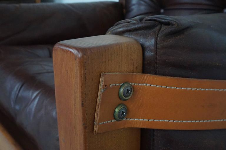 Pair of Leather Club Chairs by Pierre Chapo For Sale 5