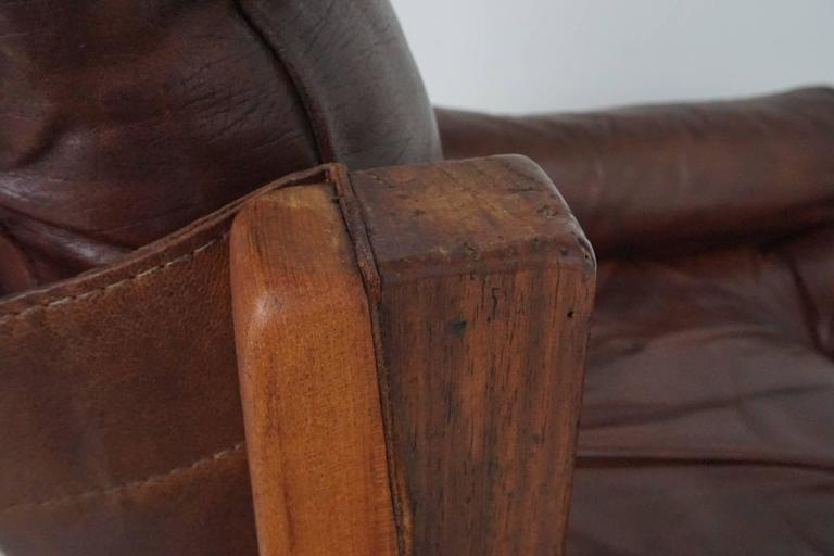 Pair of Leather Club Chairs by Pierre Chapo For Sale 3