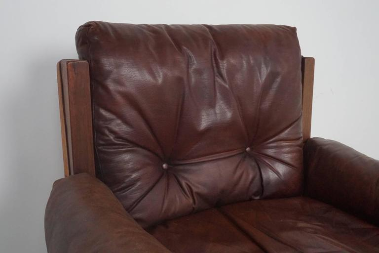 Pair of Leather Club Chairs by Pierre Chapo For Sale 1