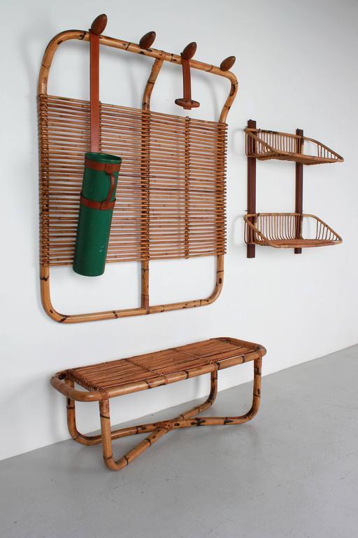 Bamboo Coat Rack Bench And Shelf At 1stdibs