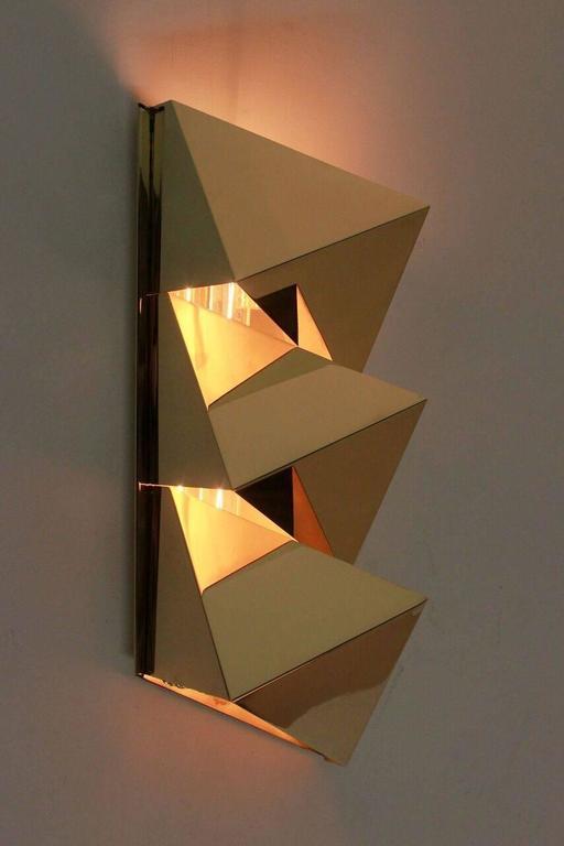 Brass Geometric Sconces At 1stdibs