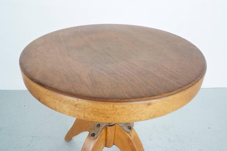 German Industrial Wood Stool For Sale