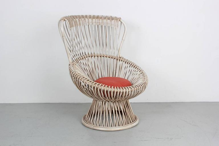 Rattan Pair of Margherita Chairs by Franco Albini For Sale