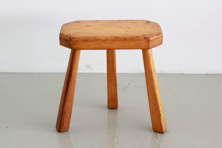 Oak French Perriand Style Stools For Sale