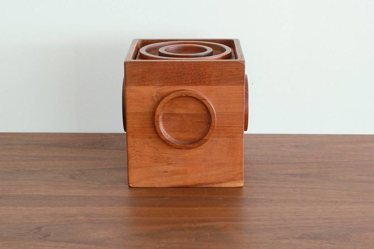 Mid-Century Square Teak Ice Bucket 3