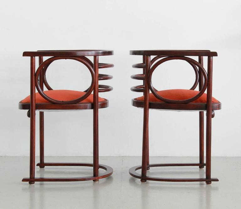 Gorgeous pair of Fledermaus chairs by Austrian architect Josef Hoffman, one of the founding fathers of the Vienna Succession and the International Style, influencing such masters as Alvar Aalto, Le Corbusier and Carlo Scarpa. 