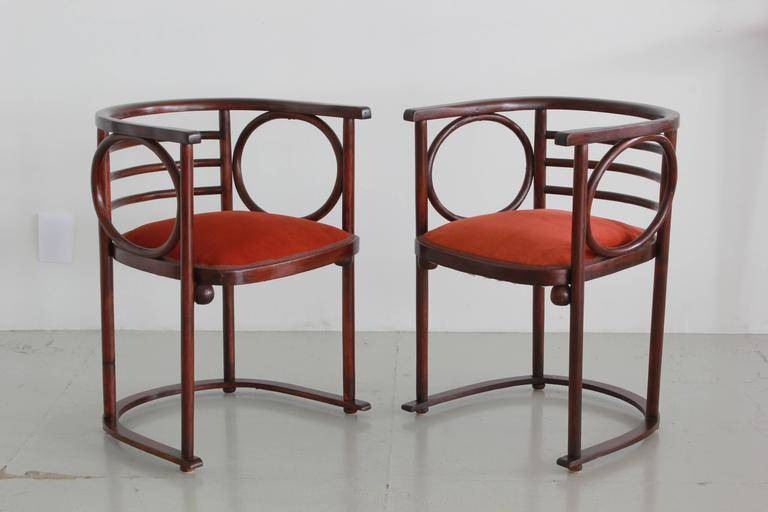 Austrian Josef Hoffman Pair of Fledermaus Chairs For Sale
