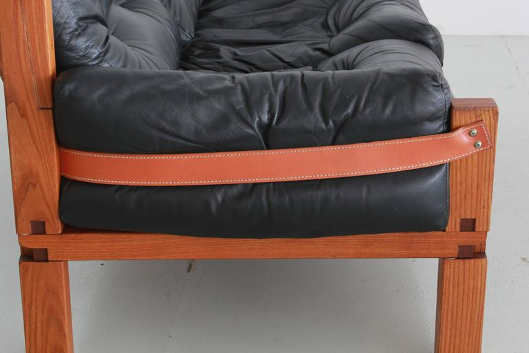 Leather Pierre Chapo Loveseat For Sale