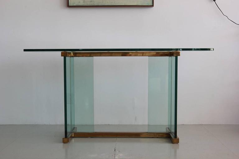 Pace Glass and Brass Console Table 2