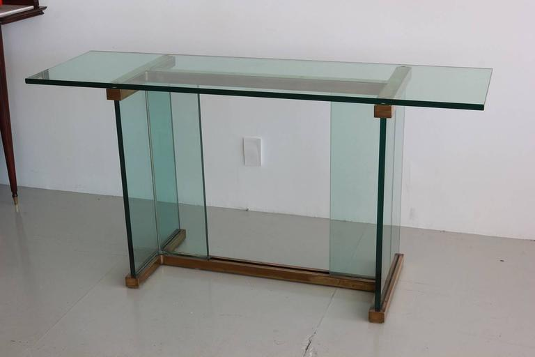 Pace Glass and Brass Console Table 3