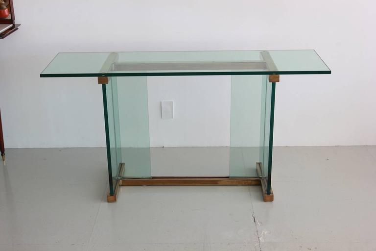 Pace Glass and Brass Console Table 4