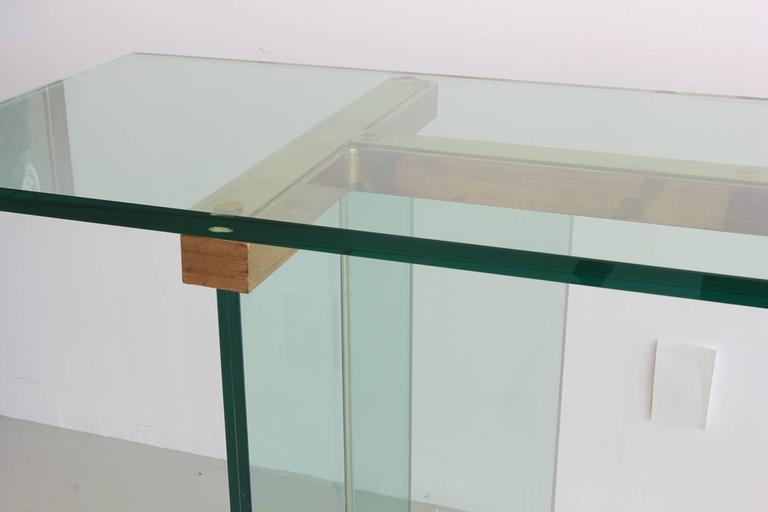 Pace Glass and Brass Console Table 5