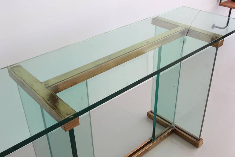 Pace Glass and Brass Console Table 6
