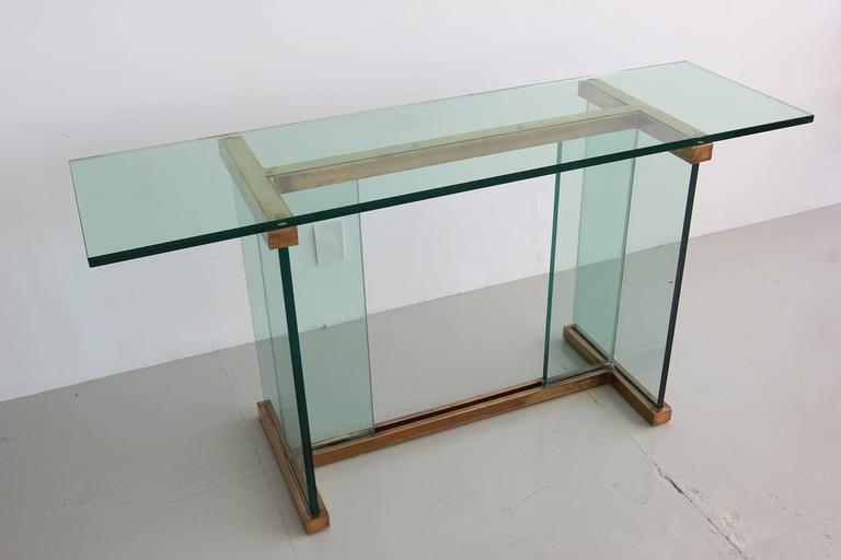 Pace Glass and Brass Console Table 8
