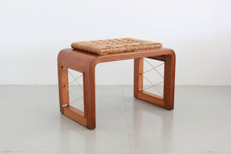 French bentwood stools in the style of Jean Royere with rushed seats and rope detail. Fantastic quality and design!