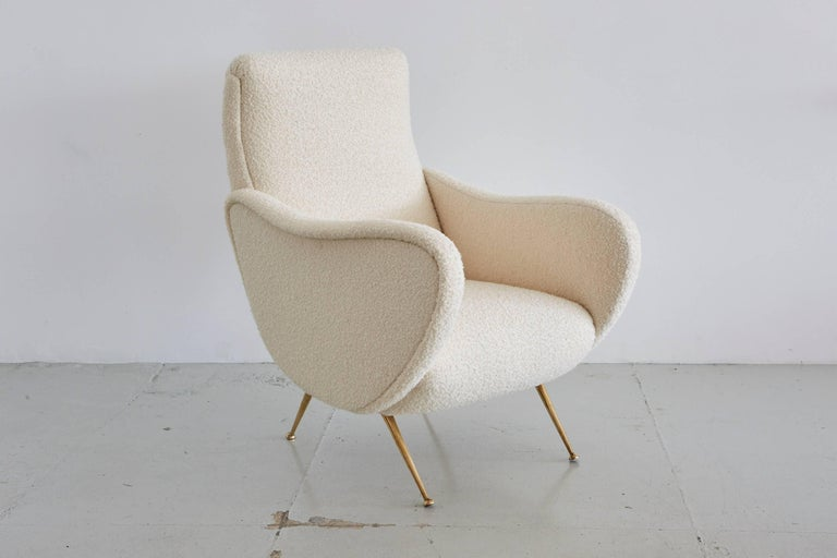 Marco Zanuso lady chair style with matching ottoman.
