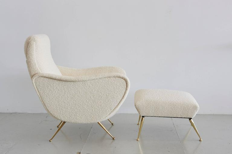 Italian Marco Zanuso Style Chair and Ottoman For Sale