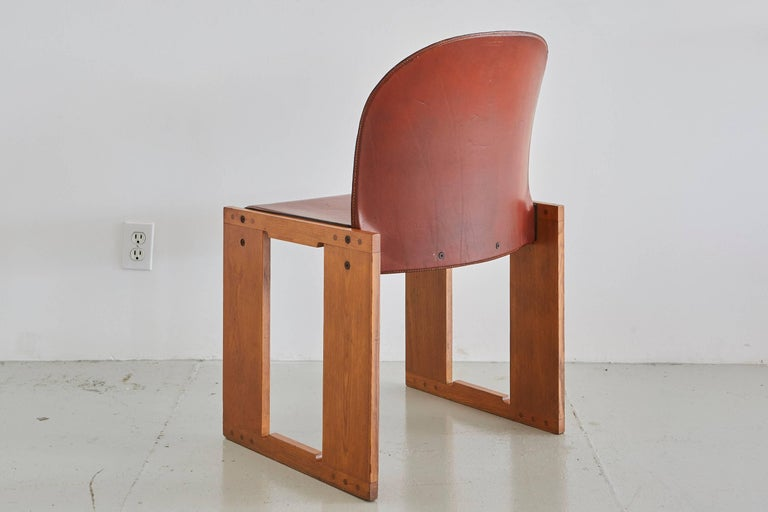 Leather Set of Four Afra & Tobia Scarpa Chairs For Sale