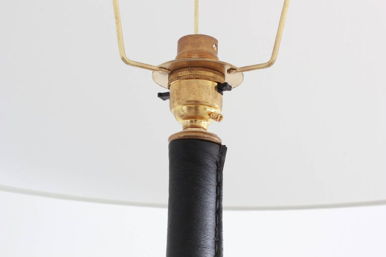 Mid-20th Century Jacques Adnet Leather Wrapped Floor Lamp For Sale
