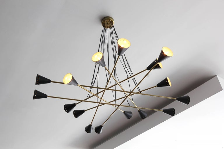 Italian Sixteen Shade Stilnovo Style Chandelier For Sale 1