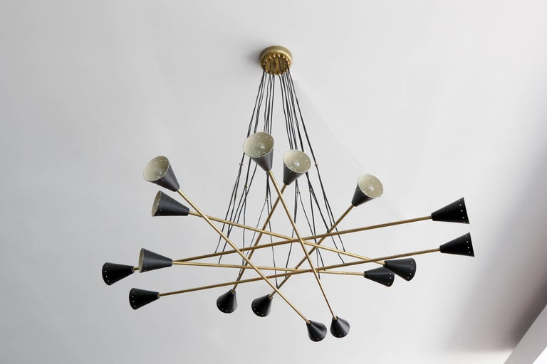 Mid-Century Modern Italian Sixteen Shade Stilnovo Style Chandelier For Sale