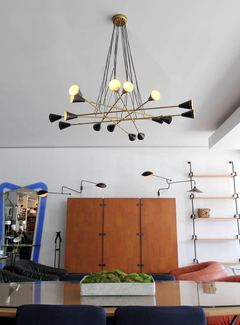 Italian Sixteen Shade Stilnovo Style Chandelier For Sale 2