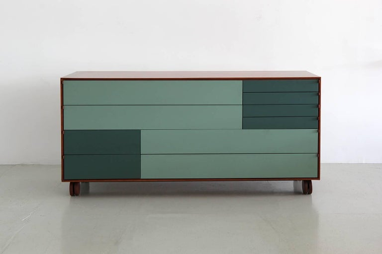 Mid-Century Modern Rolling Ten-Drawer Dresser by B&B Italia For Sale
