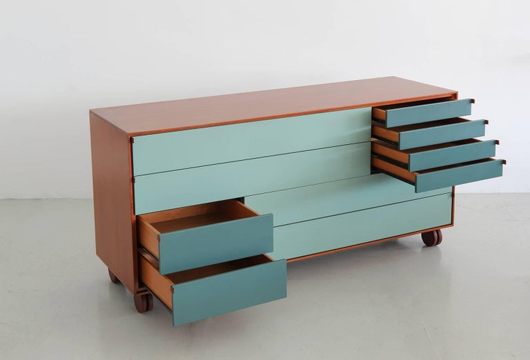 Italian Rolling Ten-Drawer Dresser by B&B Italia For Sale