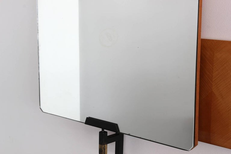 Large Italian Pivoting Floating Mirror and Shelf  For Sale 4