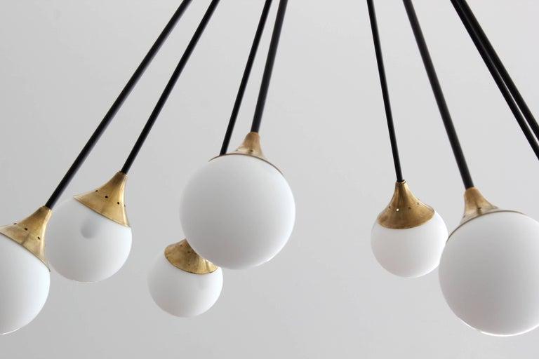 Italian Eight-Glass Stilnovo Globe Chandelier For Sale