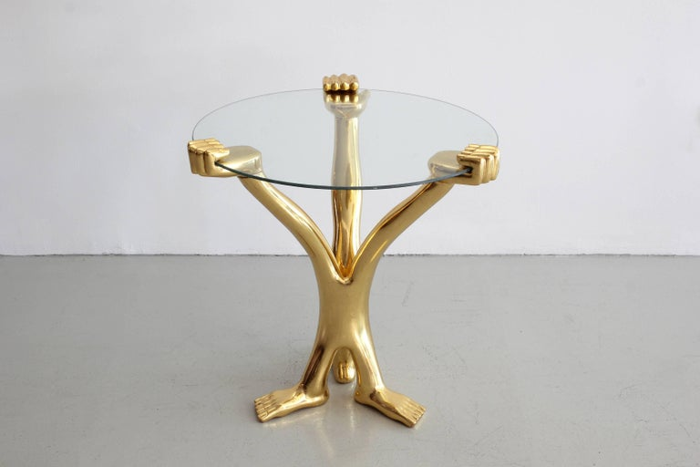 Mexican Signed Pedro Friedeberg Gilt Accent Table For Sale