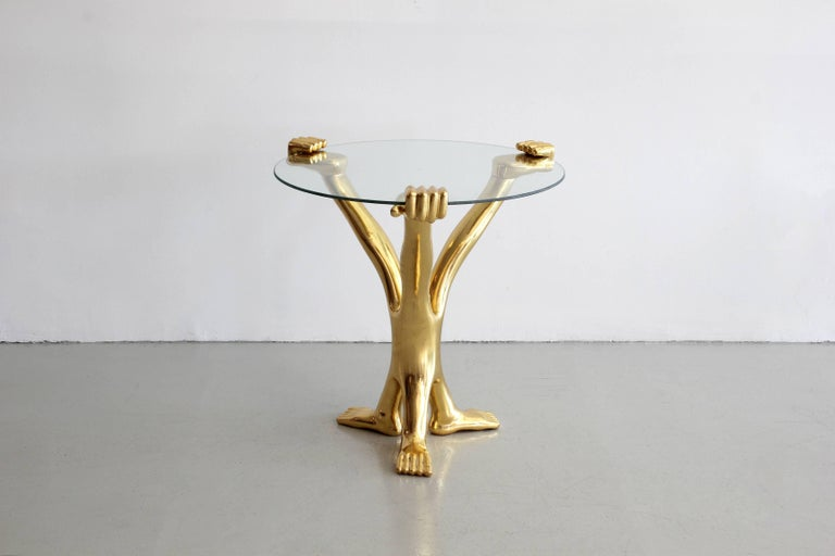 Gilt hand and foot table by Mexican designer Pedro Friedeberg. Signed on underside of foot.