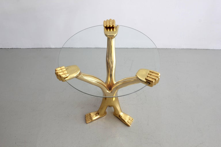 20th Century Signed Pedro Friedeberg Gilt Accent Table For Sale