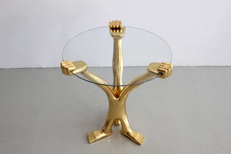 Signed Pedro Friedeberg Gilt Accent Table In Excellent Condition For Sale In Los Angeles, CA