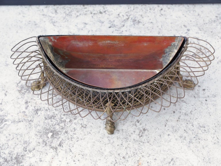 19th Century French Wire Demilune Jardiniere For Sale 1